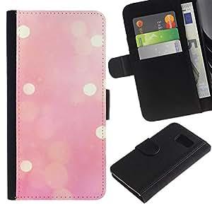 A-type (Pink Lights Blurry Yellow Winter Love) Colorida Impresión Funda Cuero Monedero Caja Bolsa Cubierta Caja Piel Card Slots Para Samsung Galaxy S6