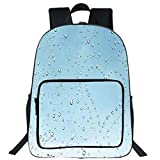 iPrint 19' Large Casual Backpack,Farmhouse Decor,Heart Shape Rain Droplets on Crystal Clear Window Glass Pure Love Valentines,Blue,for boys girls