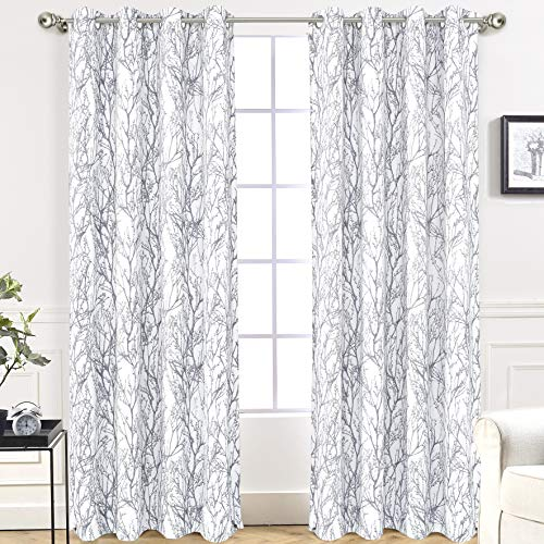 DriftAway Tree Branch Botanical Pattern Painting Blackout Room Darkening Thermal Insulated Grommet Lined Window Curtains 2 Panels 2 Layers Each 52 Inch by 84 Inch Gray (White With Grey Curtains)