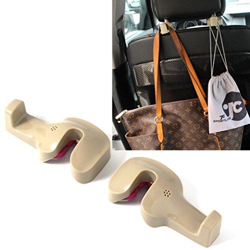 Jcsportline Universal Car Back Seat Headrest Hanger Holder Hook fits Bag Purse Cloth Grocery 1 Pair (Beige)
