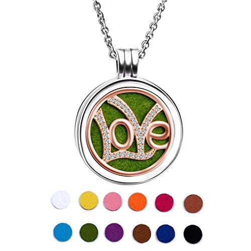 Angemiel 925 Sterling Silver Rose Gold Plated Love Essential Oil Diffuser Locket Necklace