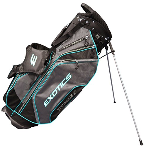 Tour Edge Men's Exotics Xtreme3 Stand Bag, Black/Charcoal/Teal - Edge Stand Bag