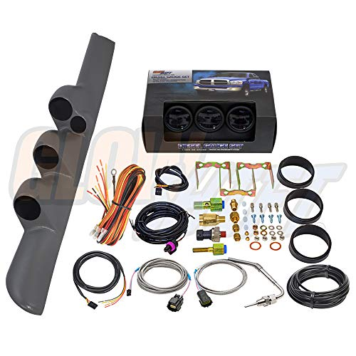 GlowShift Diesel Package for 1998-2002 Gray Dodge Ram Cummins w/A-Pillar Speaker + Tinted 7 Color 60 Boost, 1500 Pyrometer EGT & 30 Fuel Pressure Gauges