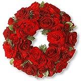 National Tree 15 Inch Velvet Rose Wreath with Sprigs of Cedar (RAV-WL1265-1)