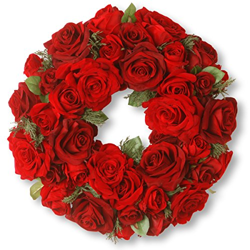 National Tree 15 Inch Velvet Rose Wreath with Sprigs of Cedar (RAV-WL1265-1) ()
