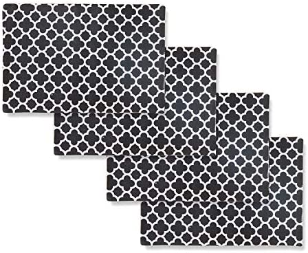 Black NATUS WEAVER Set of 4 Placemats Heat Resistant Dining Table Place Mats Kitchen Table Mats