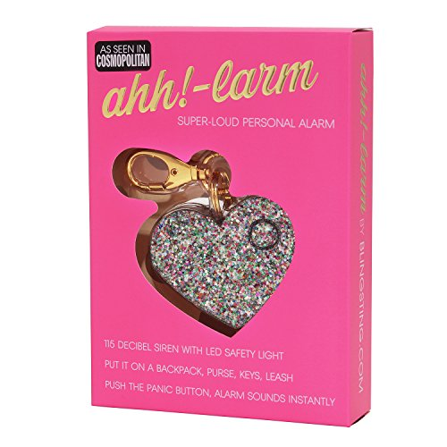 Personal Safety Alarm for Women - Ahh!-larm! Self-Defense Personal Panic 115 Decibel Alarm Keychain for Women with LED Safety Light and Clip, Confetti Glitter Heart