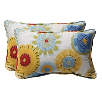 Pillow Perfect Decorative Multicolored Floral Rectangle Toss Pillows, 2-Pack - Includes two (2) outdoor pillows, resists weather and fading in sunlight; Suitable for indoor and outdoor use Plush Fill - 100-percent polyester fiber filling Edges of outdoor pillows are trimmed with matching fabric and cord to sit perfectly on your outdoor patio furniture - living-room-soft-furnishings, living-room, decorative-pillows - 51BvHo2byML. SS400  -