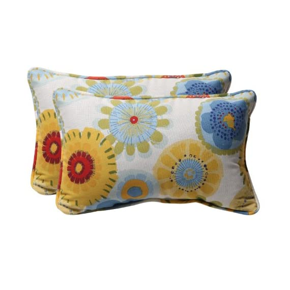 Pillow Perfect Decorative Multicolored Floral Rectangle Toss Pillows, 2-Pack - Includes two (2) outdoor pillows, resists weather and fading in sunlight; Suitable for indoor and outdoor use Plush Fill - 100-percent polyester fiber filling Edges of outdoor pillows are trimmed with matching fabric and cord to sit perfectly on your outdoor patio furniture - living-room-soft-furnishings, living-room, decorative-pillows - 51BvHo2byML. SS570  -