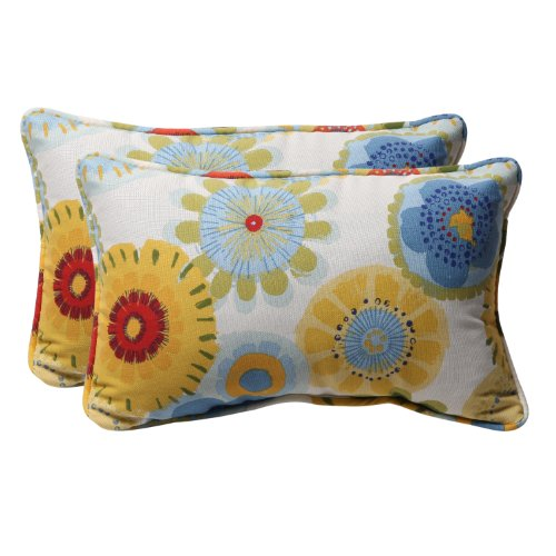 Pillow Perfect Decorative Multicolored Floral Rectangle Toss Pillows, 2-Pack ()