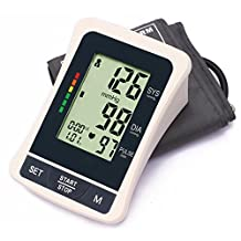 LotFancy FDA Approved Auto Digital Arm Blood Pressure Monitor, 60x2 Memories,Irregular Heartbeat Detector,4 Inch LCD,WHO Indicator,Last 3 Results Average