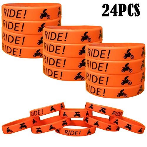 24PCS Dirt Bike Party Favors Rubber Bracelets - Motocross Game Party Supplies Gifts/Prize/Goodie Bag Stuffers Slicone Wristbands