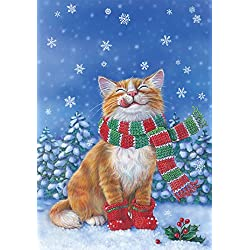 Toland Home Garden Kitten Mittens 12.5 x 18 Inch Decorative Cute Winter Snow Kitty Cat Scarf Garden Flag