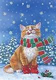 Toland - Kitten Mittens - Decorative Snow Flake Winter Cute Tabby Cat Scarf USA-Produced Garden Flag