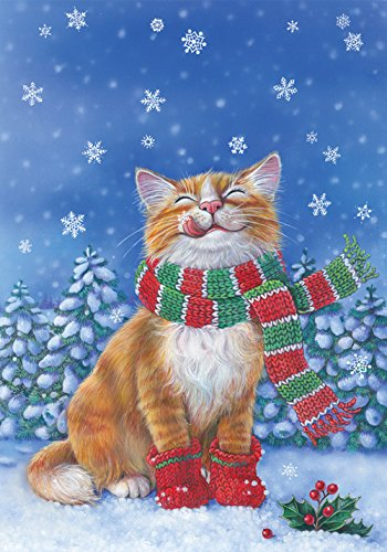 Toland Home Garden Kitten Mittens 12.5 x 18 Inch Decorative Cute Winter Snow Kitty Cat Scarf Garden Flag - 119376