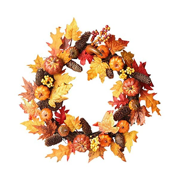 Transer- Pumpkin Berry Rattan Maple Leaf Fall Front Door Wreath, 24 Inches Decorative Leaves & Flowers, Halloween Party Door Wall Garland Decoration (Multicolor)