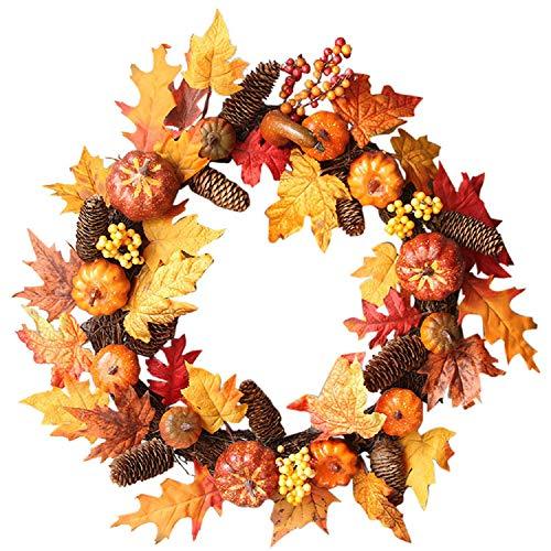 Monogram Canvas Jewelry Case - Baomabao 60cm Rattan Berry Maple Leaf Fall Door Wreath Door Wall Ornament Halloween
