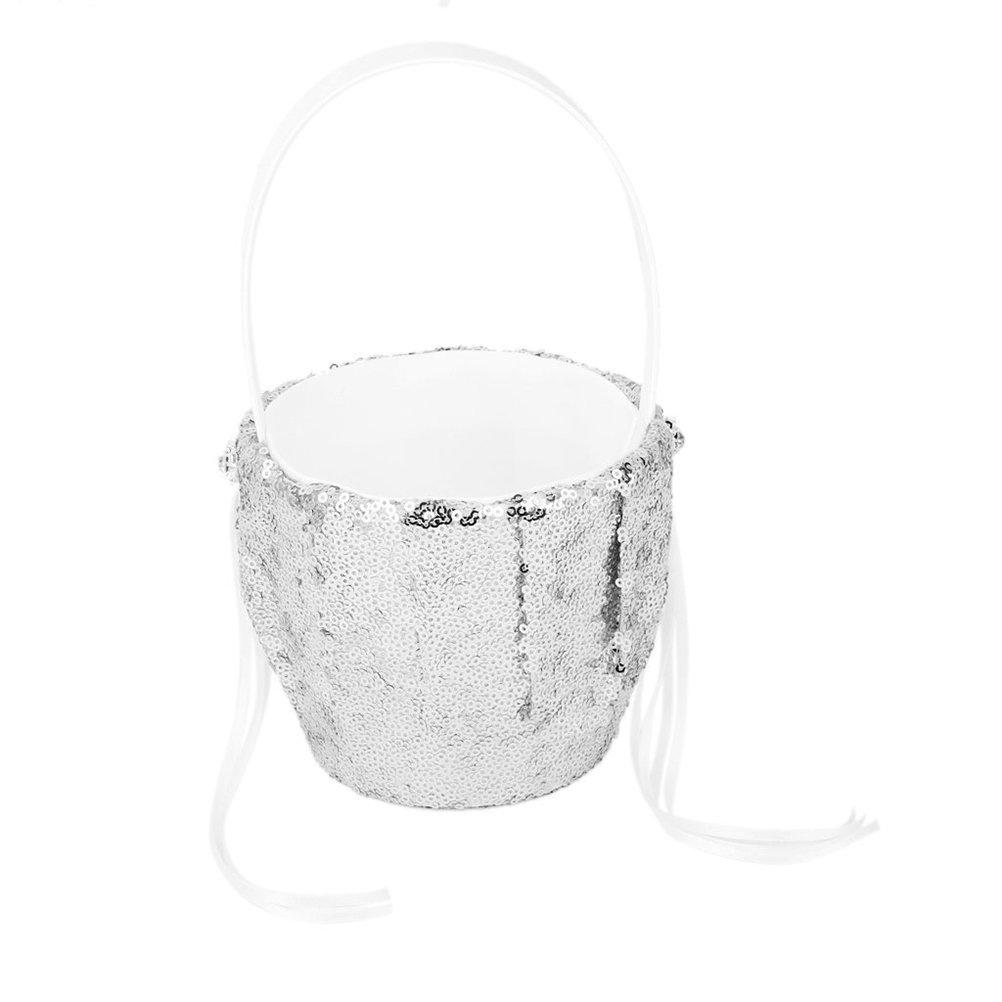 NUOLUX Flower Basket Sequins flowergirl basket with Sequins Ribbon Decor Silver
