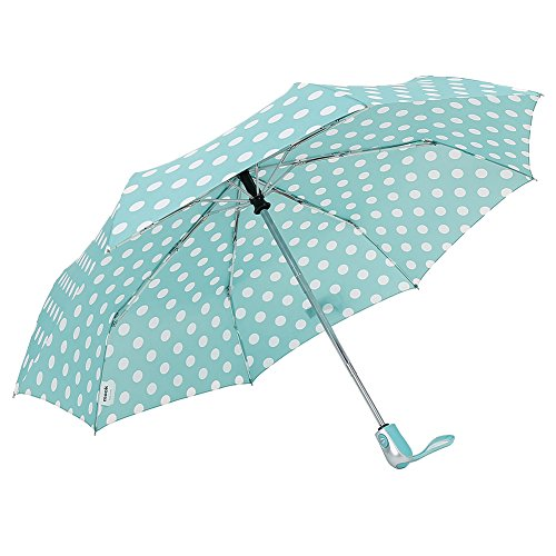 - ZKDT Cute Polka Dots Tri-fold Travel Umbrella Light Weight Compact & Portable Umbrellas for Women (Mint)