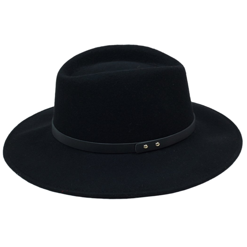 Kapmore Mens Unisex Plain Felt Gangster Fedora Hat With Leather Belt Band New as Birthday Gift Fathers Day Gift for Dad or Friends Black