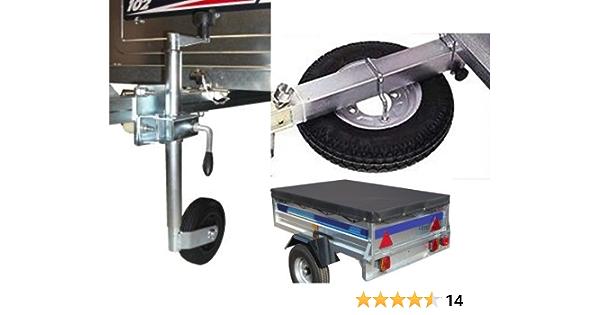 Kit de accesorios para remolque Erde 102, incluye rueda de repuesto, rueda direccional y kit de fijación, cubierta de remolque y transportador de ...