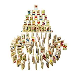 Domino Infantil Madera Letras Numeros Animales Apilar Bloques Construccion Double Diseño para 100 Piezas Regalo para 3 4 5 6 Niños