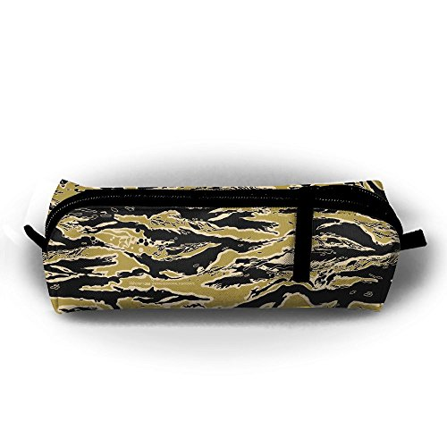 (Rfhbjthir Tiger Stripe Pictures Unisex Stationery Pouch Zipper Cosmetic Bags Cylindrical Purse)