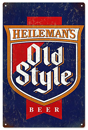 - Heilemans Old Style Beer Tin Sign, Heilemans Old Style Beer Vintage Looking Bar Metal Sign, 12