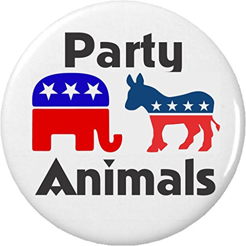 """Party Animals Republican Elephant Democrat Donkey 2.25"""" Large Button Pin Funny"""