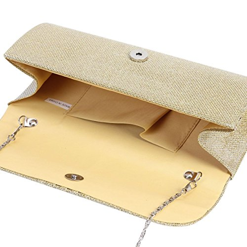 Clutch Glitter Damara Womens Damara Bag Shirred Party Gold Flap Womens 5Y7pFWFT