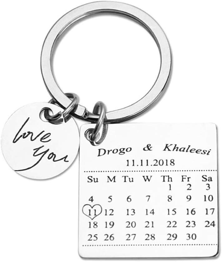 Calendario Personalizado Llavero Estampado a Mano Calendario Día Especial Calendario Llavero Aniversario Personalizado Regalo para Novia (Plata)