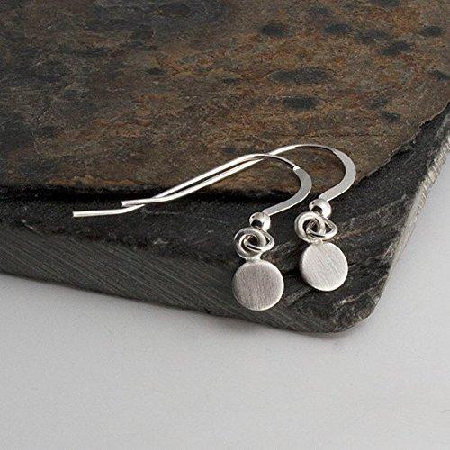 5mm Drop Earrings, Matte Silver Earrings, Tiny Earrings, Modern Jewelry, Round Disc Earrings, Minimalist Earrings, Handmade ()