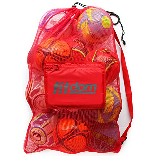 Extra Large Heavy Duty Mesh Bag Soccer Ball, Water Sports, Beach Cloth, Swimming Gears. Adjustable Shoulder Strap Made to Fit Adults Kids. Secure Side Pocket Your Personal Item (Red)
