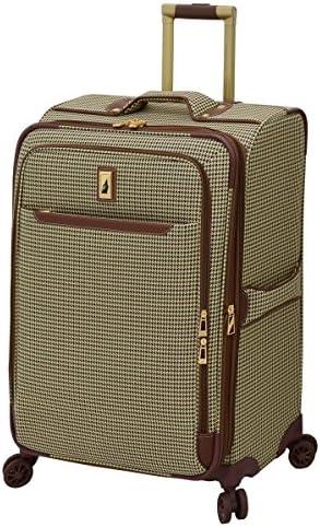 LONDON FOG Cambridge II Softside Expandable Spinner Luggage, Olive Houndstooth, Checked-Medium 25-Inch