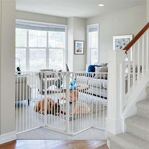 Costzon 204-Inch Wide Baby Safety Gate, 8-Panel Fireplace Fence with Walk-Through Door in Two Directions, 4 Pack of Wall Mounts, Wall-Mount Metal Play Yard for Toddler/Pet/Christmas (8-Panel,White)