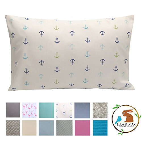 Ella & Max Toddler Pillowcase. Anchor Nautical. Soft & Cuddly. Fits 13x18 & 14x19 Toddler Pillows. Easy to wash & no Ironing. Handmade in USA. Made of Luxury Microfiber Fabric.
