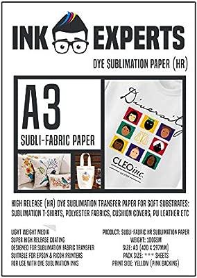 Ink Experts Subli-Fabric - Papel de sublimación (A3, alta liberación, 100 g/m²) 50