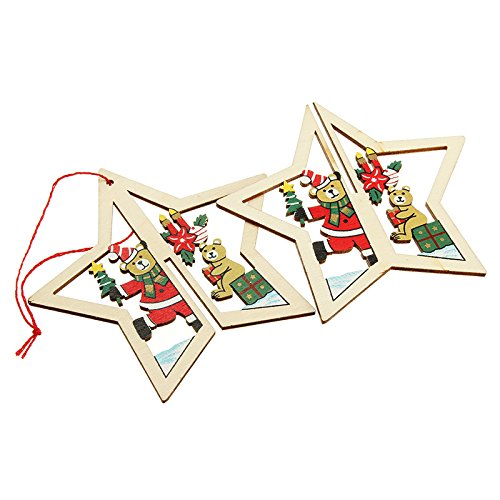 HITSAN 2PCS Christmas Wood Five-Pointed Star Christmas Tree Accessories One Piece