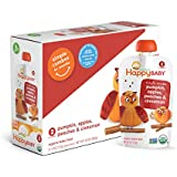 Happy Baby Organic Stage 2 Baby Food Simple Combos Pumpkin Apples Peaches & Cinnamon, 4 Ounce Pouch (Pack of 16) Resealable Baby Food Pouches, Fruit & Veggie Puree, Organic Non-GMO Gluten Free Kosher