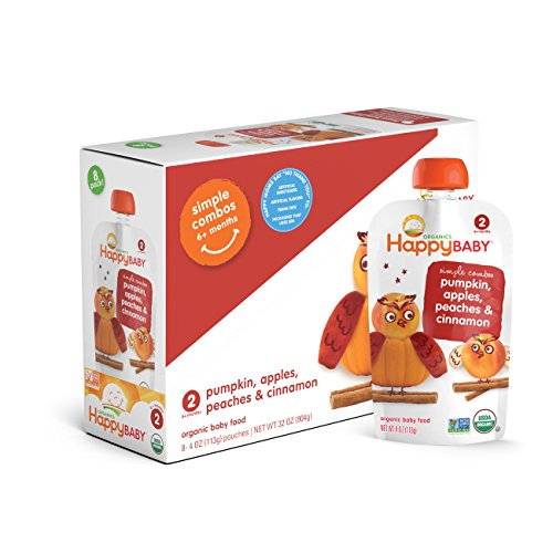 Happy Baby Organic Stage 2 Baby Food Simple Combos Pumpkin Apples Peaches & Cinnamon, 4 Ounce Pouch (Pack of 16) Resealable Baby Food Pouches, Fruit & Veggie Puree, Organic Non-GMO -