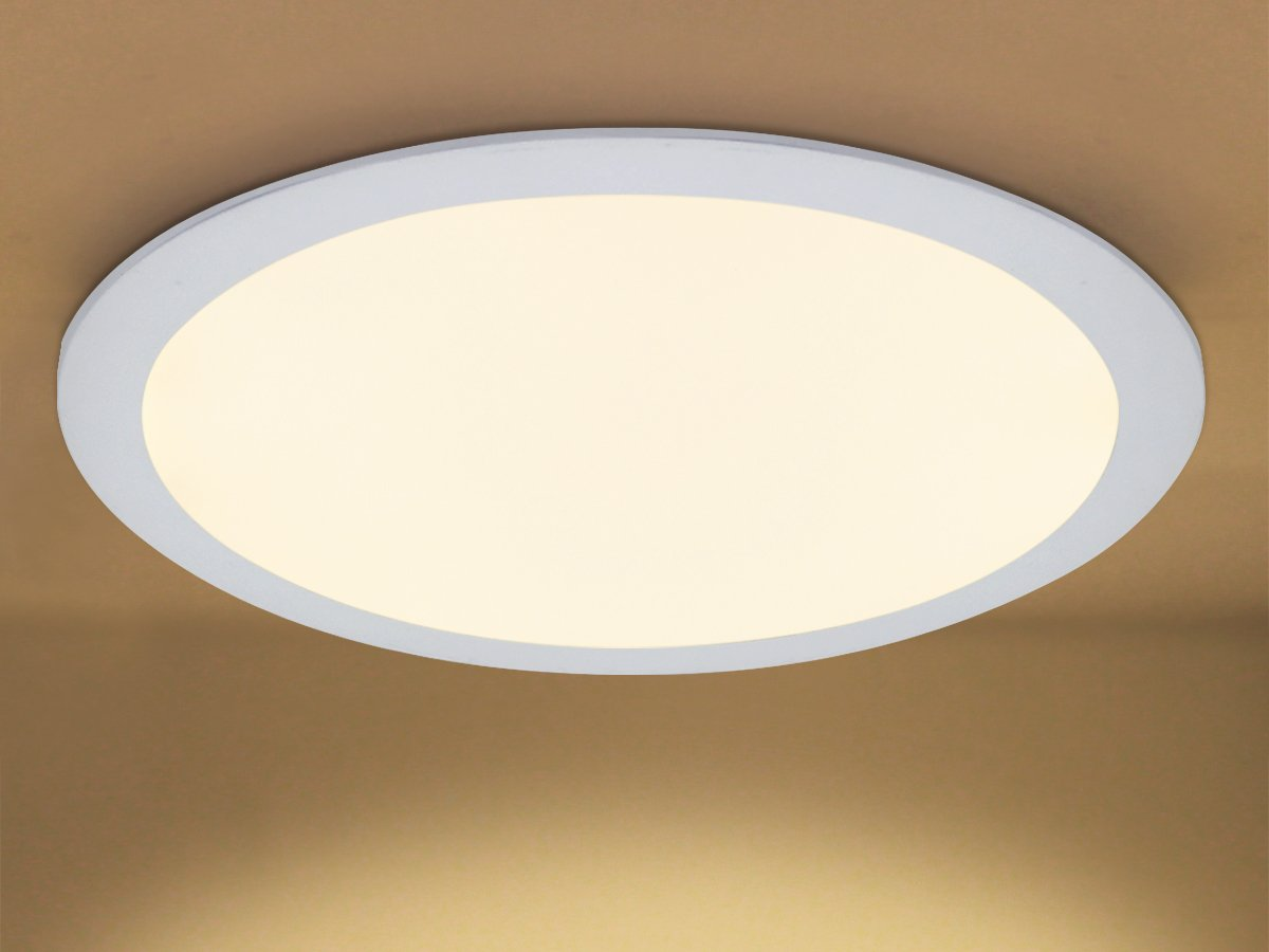 24w Round LED Ceiling Panel Recessed Down Light Flat Ultra Slim Lamp Warm White 3500K Super Bright 300mm x 300mm [Energy Class A+] Long Life Lamp Company