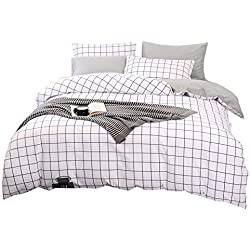 BuLuTu Teen Men Duvet Cover Set Queen White/Grey Egyptian cotton,Plaid Gingham Print 3 Pieces Kids Bedding Sets Full Comforter Cover Zip Zipper,Super Soft,Lightweight,Modern,Hotel Quality,NO COMFORTER