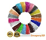 Imagery3D (20 in 1) 20 Colors, 10M each Total 200M, 1.75mm PLA Filaments Starter Kit 3D Pen Printing Material