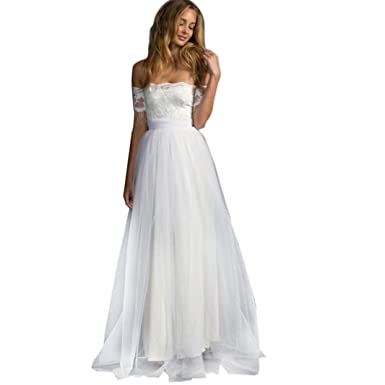 Elogoog Women Dress Women s Off Shoulder Floral Lace White Mermaid Evening  Party Formal Bridesmaid Dress ( 7c8080614a79