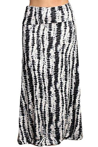 Bamboo Tie Dye - Womens Plus Size Black and White Bamboo Tie Dye Print Long Maxi Skirt (XXL)