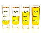 Marine Corps Shot Glass Levels, 4 Pack, Military, Veteran, Gift Set