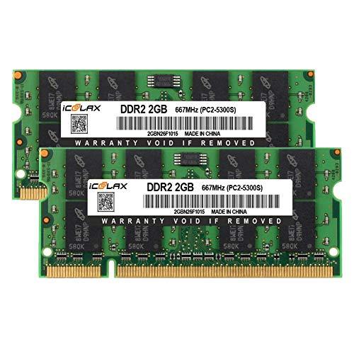 Module Memory 1.8v Sdram (ICOOLAX 4GB Kit(2x2GB) RAM 4GB DDR2 667MHz PC2-5300 1.8v CL5 200-Pin SODIMM DDR2 Non-ECC Memory RAM Module for Notebook)