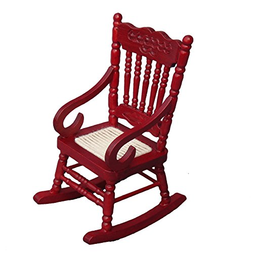 Miniature Toy Wood (Aneil Rocking Chair Model Dollhouse Miniature Accessories for Kids and Girls (Red))