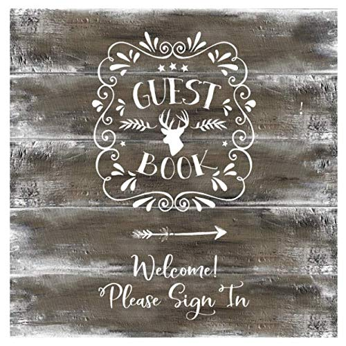 (Guest Book: Rustic Wood Guestbook For Vacation House, Guesthouse Lodge Visitors, Rental Cabin Home B&B Holiday Hotel- Lined Square Pages To Write In, Sign In - Lettering)