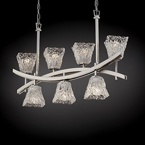 Downlight Chandelier Lace - Justice Design GLA-8598-40-LACE-DBRZ Justice Design Group - Veneto Luce Collection - GLA-8598 - Archway Up & Downlight Chandelier - Square Flared Archway FamilyCollection